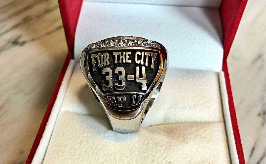 A look at the University of Houston basketball team's conference championship rings for the 2018-19 season. Photo: Joseph Duarte
