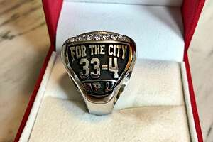 A look at the University of Houston basketball team's conference championship rings for the 2018-19 season.