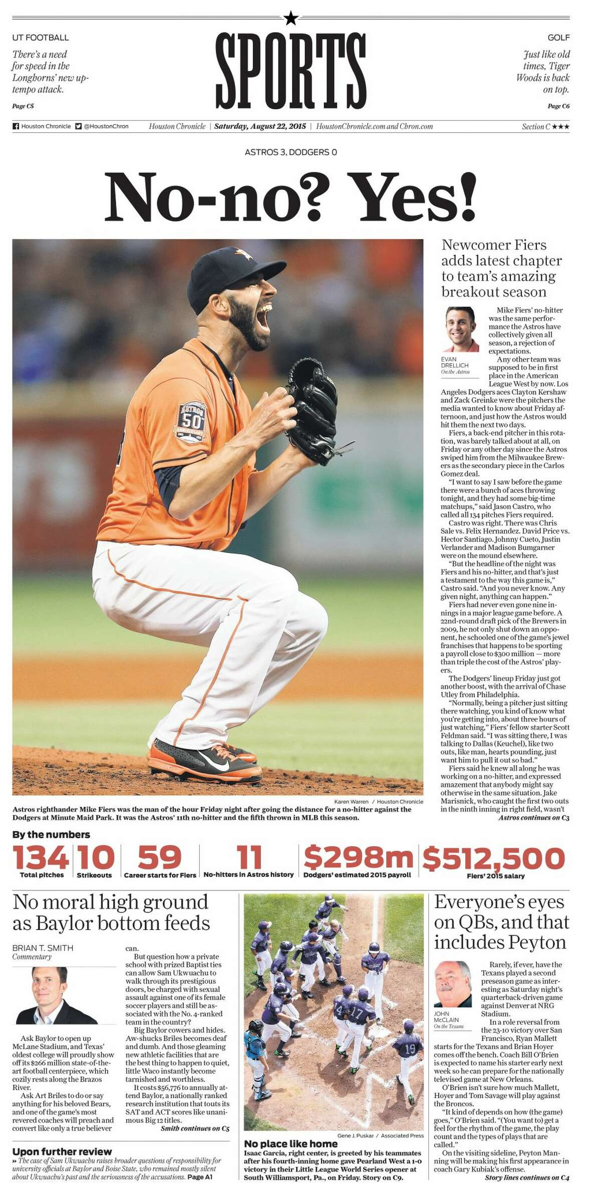 The Aug. 22, 2015, front page of the Houston Chronicle sports section after Mike Fiers pitched a no-hitter against the Dodgers at Minute Maid Park.