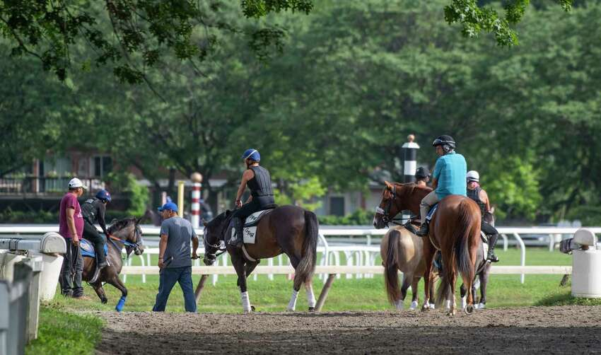 Horses head to the Oklahoma Training track adjacent to the Saratoga Race Course for morning exercise Thursday July 18 2019 in Saratoga Springs, N.Y. The opening of the training facility has been delayed this year because of the coronavirus outbreak. (Special to the Times Union by Skip Dickstein)