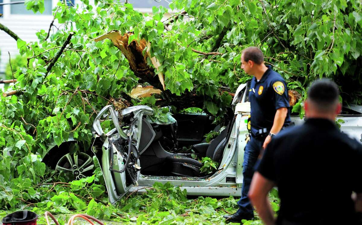A is covered by a tree that fell on it on Park Avenue on the Bridgeport/Fairfield border during a storm on Wednesday. The motorist was trapped in the car by the tree limbs and live wires, and died of his injuries later on Wednesday.