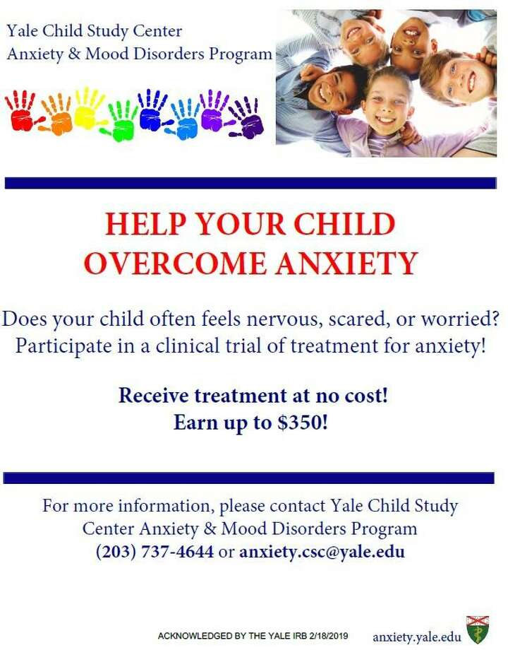 The Anxiety and Mood Disorders Program at the Yale Child Study Center offers treatment for 6- to 14-year-olds in free clinical trials. Photo: Yale Child Study Center / Contributed Photo