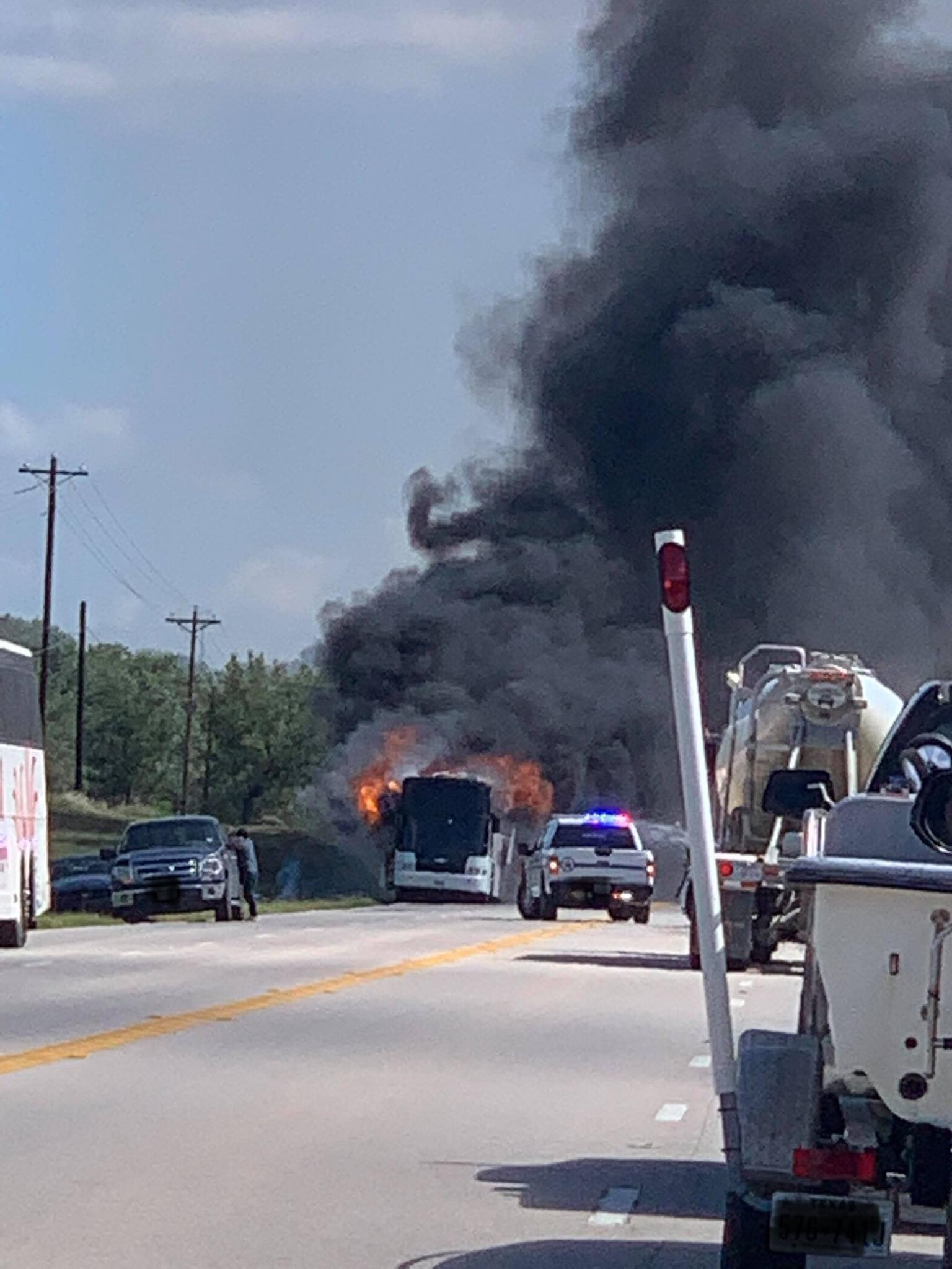 Officials: Charter bus headed to San Antonio catches fire in