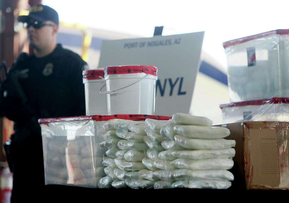 A display of the fentanyl and meth that was seized by Customs and Border Protection officers in January in Arizona. It was the largest U.S. Customs and Border Protection biggest fentanyl bust ever. Photo: Mamta Popat / Associated Press / Arizona Daily Star