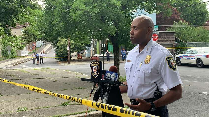 Albany Police Chief Eric Hawkins discusses the incident that led to the shooting of a young boy in the city's South End on Thursday, July 18, 2019.