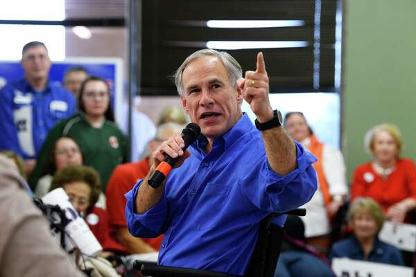 Gov. Greg Abbott speaks during a campaign stop at the Jefferson County Republican Party's office in Port Neches on Wednesday. Photo taken Wednesday 10/24/18 Ryan Pelham/The Enterprise