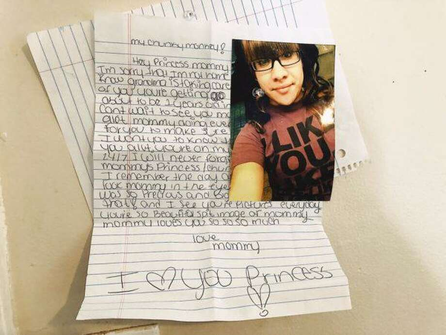 A photo of Tianna Laboy is pinned to the wall at her mother's home along with a letter she penned for her baby. Photo: Contributed Photo / Copyright 2019. All rights reserved.