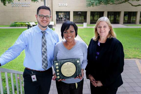 Pictured from left are Rosenberg city employeesLuis Garza, CGFO, Finance Manager; DeAndra Gomez, MBA, Budget Analyst; and Joyce Vasut, CPA, Assistant City Manager/Director of Finance.