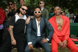 PARIS, FRANCE - JUNE 20: (L-R) Maluma, Miguel and Russel Westbrook attend the Louis Vuitton Menswear Spring Summer 2020 show as part of Paris Fashion Week on June 20, 2019 in Paris, France. (Photo by Pascal Le Segretain/Getty Images)