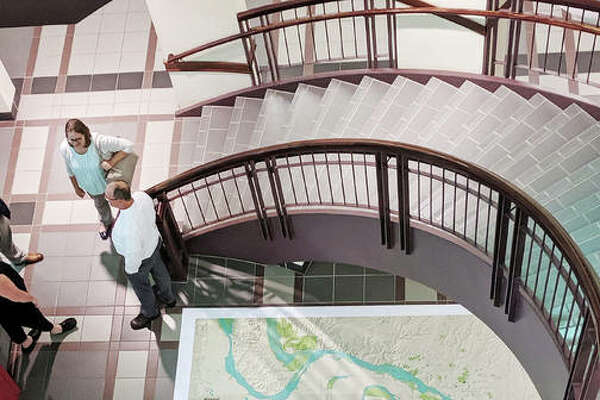 A large map of the Cahokia Mounds region was placed on the floor of the Madison County Administration Building's lobby Wednesday. County board members approved $25,000 for efforts to make Cahokia Mounds part of the National Park System one day before U.S. Rep. Mike Bost introduced legislation to include Cahokia Mounds and related sites in the national park system.