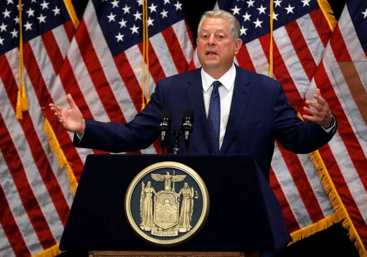 Former Vice President Al Gore delivers his remarks before witnessing New York Gov. Andrew Cuomo sign the Climate Leadership and Community Protection Act, Thursday, July 18, 2019, at Fordham University in New York. New York's new law aimed at ending climate change emissions will drive dramatic changes over the next 30 years if it meets its ambitious goals.