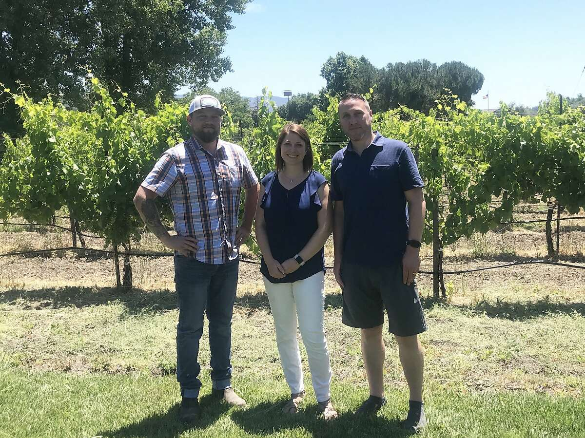 Greg and Lindsay Hamilton launched Hamilton Family Wines after losing their home in the 2017 Sonoma wildfires. Pictured: winemaker Jess Wade (left), Lindsay Hamilton and Greg Hamilton. Wines are 2017 Pinot Noir, 2018 rose and 2018 Sauvignon Blanc, all from Sonoma County fruit.