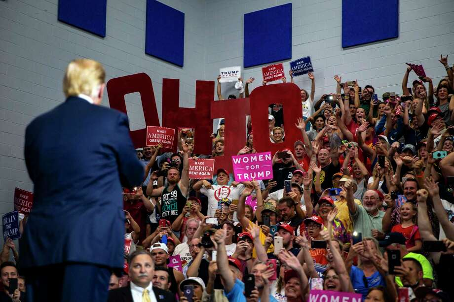 President Donald Trump holds a rally at a high school outside Columbus, Ohio, in 2018. What are our children learning about honesty and respect from an administration where alternative facts pass as truths? Photo: Al Drago /New York Times / NYTNS