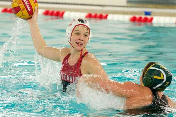 Kaila Carroll, left, of Greenwich High School, received NISCA Girls Water Polo First Team All-America honors.