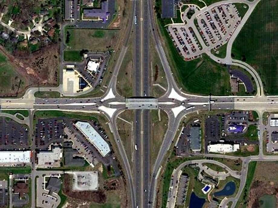 A diverging diamond interchange involves both directions of traffic briefly crossing over to the opposite side of the road between the on- and off-ramps. Photo: Indiana Department Of Transportation