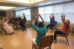 Parkway Place residents participate in Dance with Lauren, the new dance/movement class.