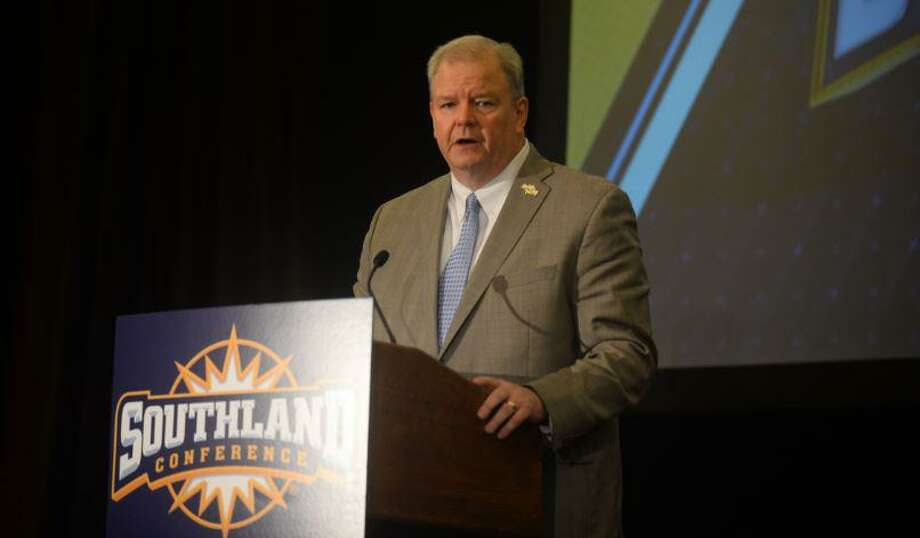 Commissioner Tom Burnett speaks during Southland Conference Media Day at the Hilton Houston Post Oak Hotel by the Galleria in Houston. Photo taken on Thursday, July 18, 2019 by Matt Faye/The Enterprise. Photo: Matt Faye/The Enterprise / Matt Faye/The Enterprise