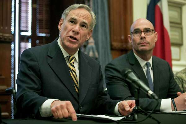 "Gov. Greg Abbott announces a deployment of National Guard troops to the Texas-Mexico border at a news conference at the Capitol, Friday June 21, 2019 in Austin, Texas. Texas Gov. Greg Abbott says he's sending another 1,000 National Guard troops to the U.S.-Mexico border and blasted Congress as a ""group of reprobates"" over the growing humanitarian crisis.Listening is House Speaker Dennis Bonnen, right. (Jay Janner/Austin American-Statesman via AP)"