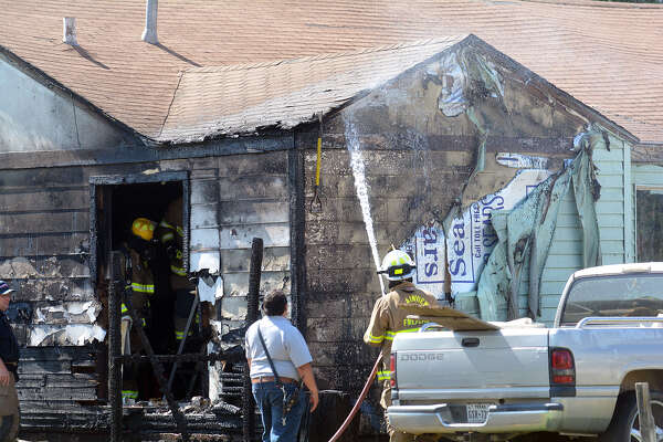 The Plainview Fire Department works to put out a fire on Nassau St on Thursday afternoon.