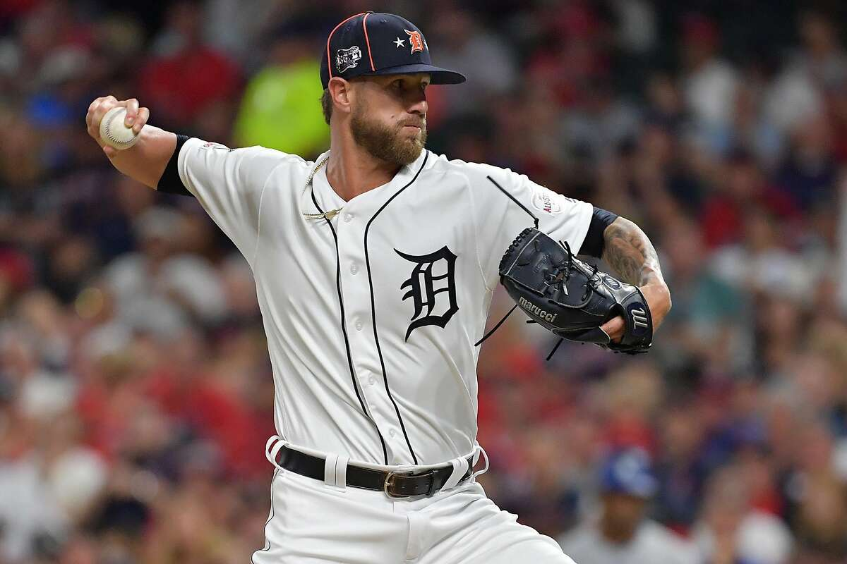 CLEVELAND, OHIO - JULY 09: Shane Greene #61 of the Detroit Tigers participates in the 2019 MLB All-Star Game at Progressive Field on July 09, 2019 in Cleveland, Ohio. ~~
