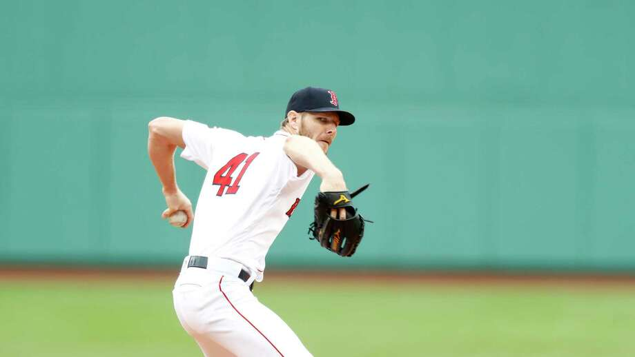 BOSTON, MASSACHUSETTS - JULY 18: Starting pitcher Chris Sale #41 of the Boston Red Sox pitches at the top of the first inning of the game against the Toronto Blue Jays at Fenway Park on July 18, 2019 in Boston, Massachusetts. (Photo by Omar Rawlings/Getty Images) Photo: Omar Rawlings / 2019 Getty Images