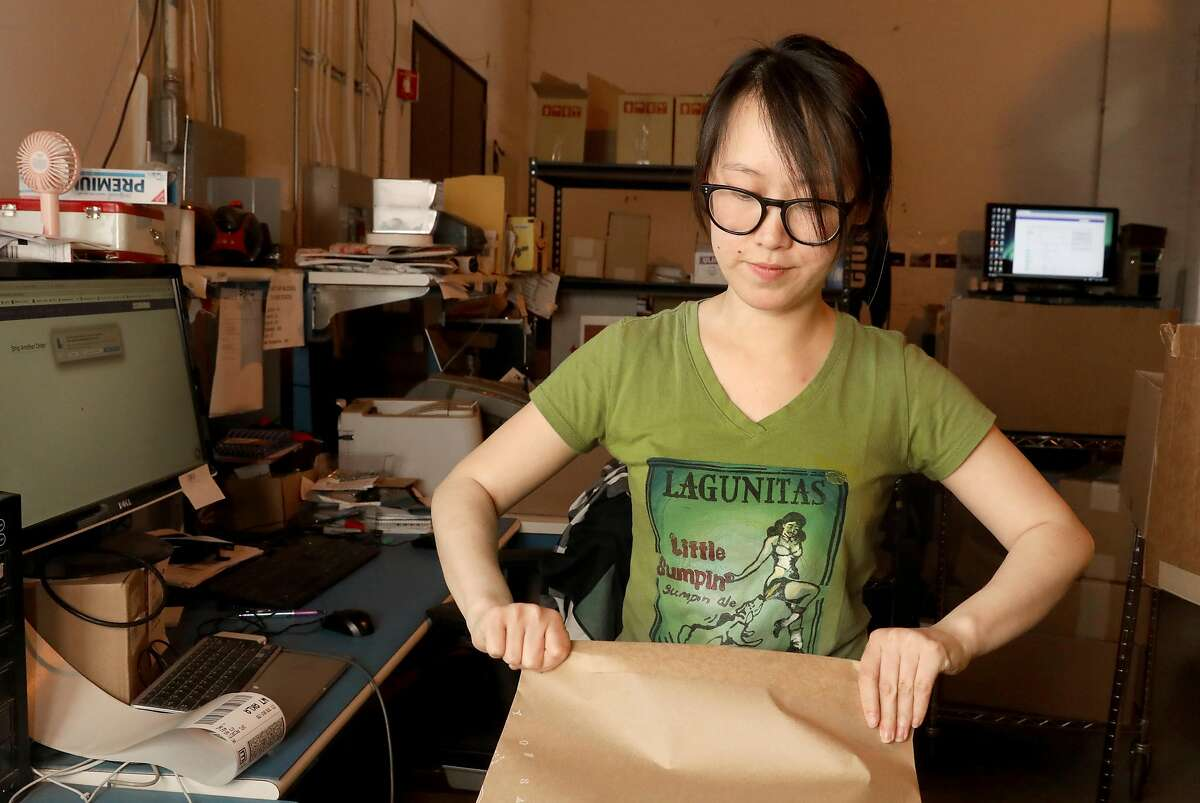 Shipper Rachel Chen works in the shipping department of Sendosa on Wednesday, June 5, 2019 in Union City, Calif. A factory/mailing facility run by Sendoso sends packages of personalized swag.