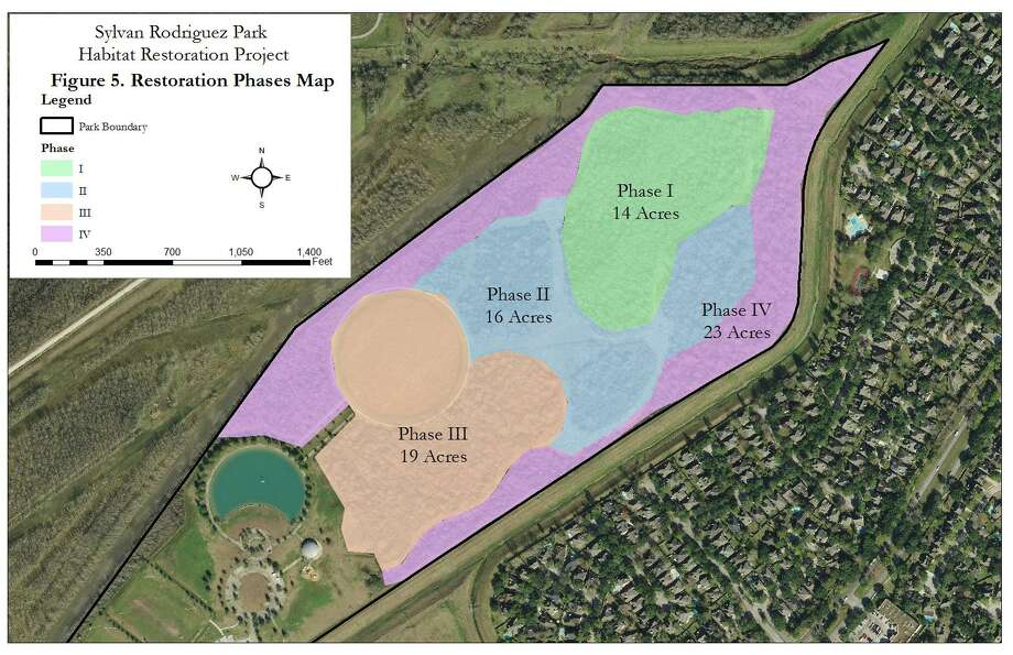 A master plan for Sylvan Rodriguez Park will restore 72 acres of coastal prairie and forest ecosystem in the 113-acre park through four phases through 2021. Photo: Courtesy / Courtesy
