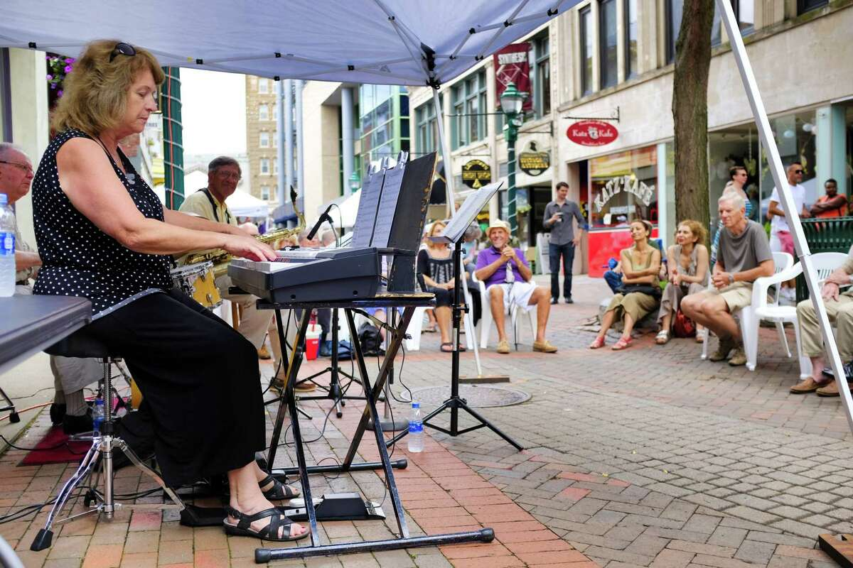 Peg Delaney plays the keyboard along with other members of the Patti Melita Quintet during the Jazz on Jay program on Thursday, July 18, 2019, in Schenectady, N.Y. (Paul Buckowski/Times Union)