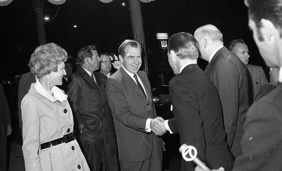 President Richard Nixon and first lady Pat Nixon arrive at the St. Francis, July 23, 1969. Supporters gathered in Union Square. Photos taken by Chronicle Staff photographers, Gordon Peters, Art Frisch and Jerry Telfer