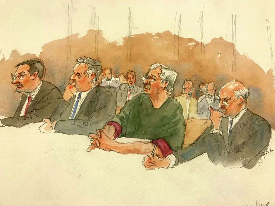 """In this courtroom sketch, defendant Jeffrey Epstein, second from right, listens along with defense attorneys, from left, Marc Fernich, Michael Miller, and Martin Weinberg as Judge Richard M. Berman denies him bail during a hearing in federal court, Thursday, July 18, 2019 in New York. Judge Berman denied bail for the jailed financier on sex trafficking charges, saying the danger to the community that would result if the jet-setting defendant was free formed the """"heart of this decision."""" (Aggie Kenny via AP) Photo: Aggie Kenny / FR171436 AP"""