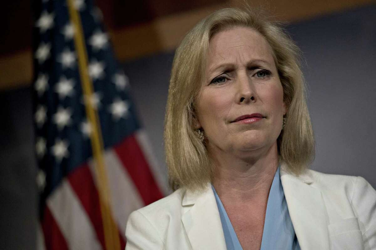 Senator Kristen Gillibrand, a Democrat from New York, listens during a news conference on the September 11th Victim Compensation Fund at the U.S. Capitol in Washington, D.C., U.S., on Thursday, July 18, 2019. The Senate agreed by unanimous consent to vote next week on the House-passed compensation fund legislation that would extend through at least fiscal 2092. Photographer: Andrew Harrer/Bloomberg