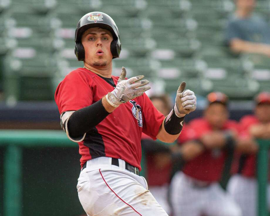 Tri-City ValleyCats catcher Nate Perry lets go of the bat during a game against the Lowell Spinners at  the Joseph L. Bruno Stadium in Troy NY on Thursday, July 18, 2019 (Jim Franco/Special to the Times Union.) Photo: Canceled / 40047130A