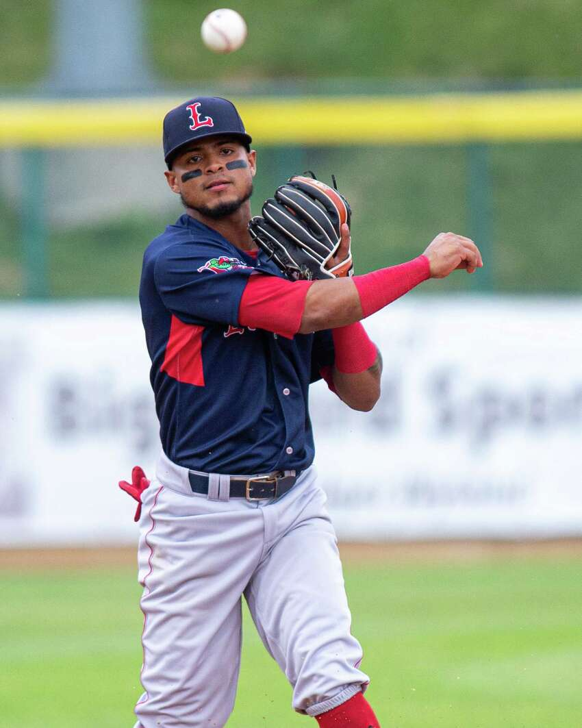 Lowell Spinners second baseman Kevin Suarez turns the double play against the Tri-City ValleyCats at the Joseph L. Bruno Stadium in Troy NY on Thursday, July 18, 2019 (Jim Franco/Special to the Times Union.)