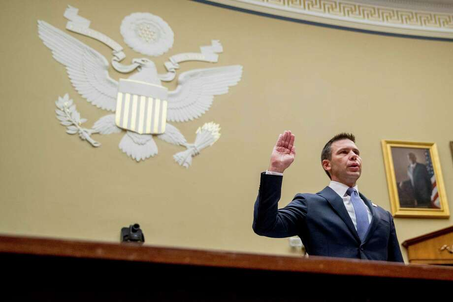 Acting Secretary of Homeland Security Kevin McAleenan is sworn in to testify before a House Committee on Oversight and Reform hearing on Capitol Hill in Washington, Thursday, July 18, 2019. (AP Photo/Andrew Harnik) Photo: Andrew Harnik / Copyright 2019 The Associated Press. All rights reserved