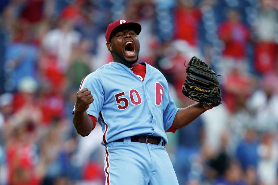 Philadelphia Phillies relief pitcher Hector Neris celebrates after Los Angeles Dodgers' Justin Turner flied out to end a baseball game, Thursday, July 18, 2019, in Philadelphia. Philadelphia won 7-6. (AP Photo/Matt Slocum) Photo: Matt Slocum / Copyright 2019 The Associated Press. All rights reserved