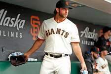 San Francisco Giants' Madison Bumgarner ready to head to the mound against New York Mets before MLB game at Oracle Park in San Francisco, Calif., on Thursday, July 18, 2019.