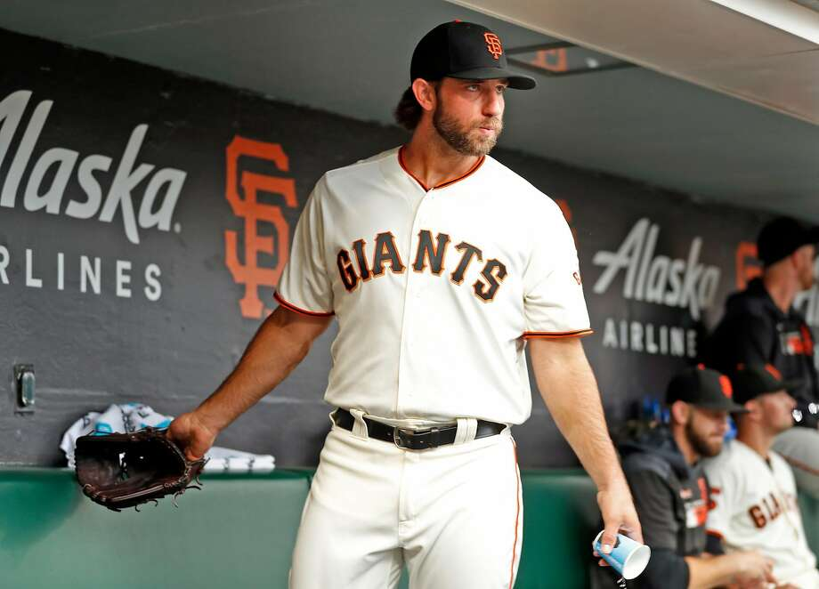 San Francisco Giants' Madison Bumgarner ready to head to the mound against New York Mets before MLB game at Oracle Park in San Francisco, Calif., on Thursday, July 18, 2019. Photo: Scott Strazzante, The Chronicle