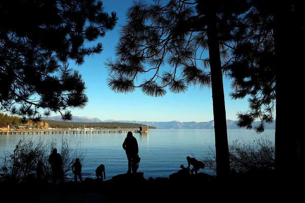 Along the shore of Lake Tahoe under clear blues skies on Fri. November 16, 2018, in Tahoe City, Ca.