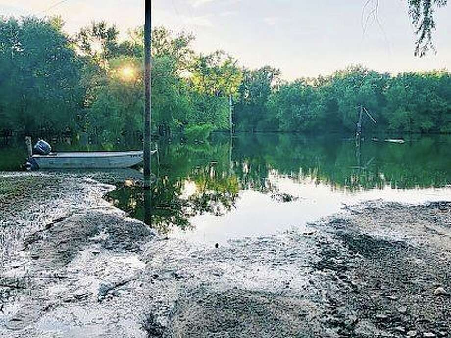The road leading to the boat launch in Bath remained under several feet of water well into this month. Photo: Photo Provided