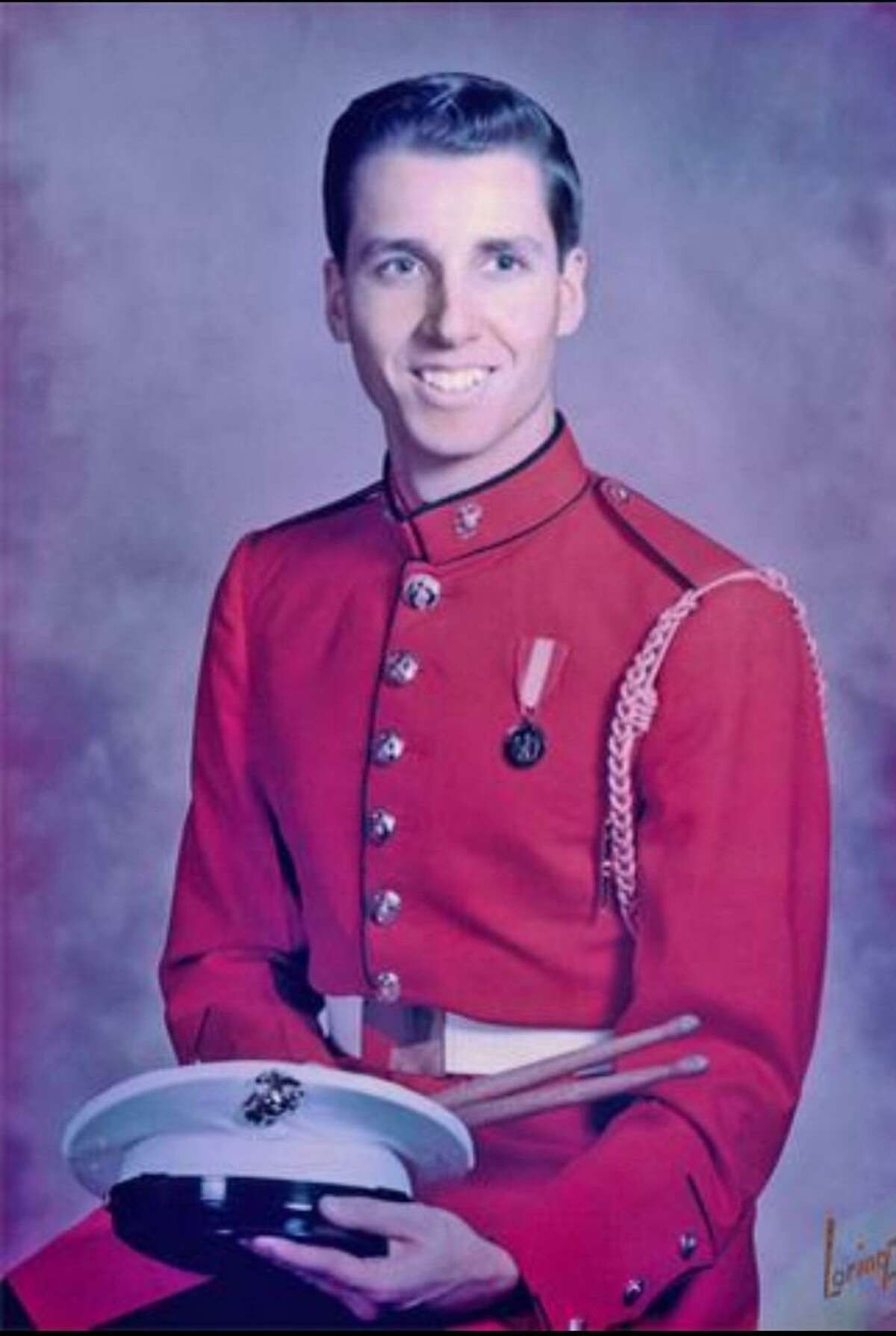 """Eddie Ostrowski in his dress uniform as a member of the USMC Drum & Bugle Corps, """"The Commandant's Own."""""""