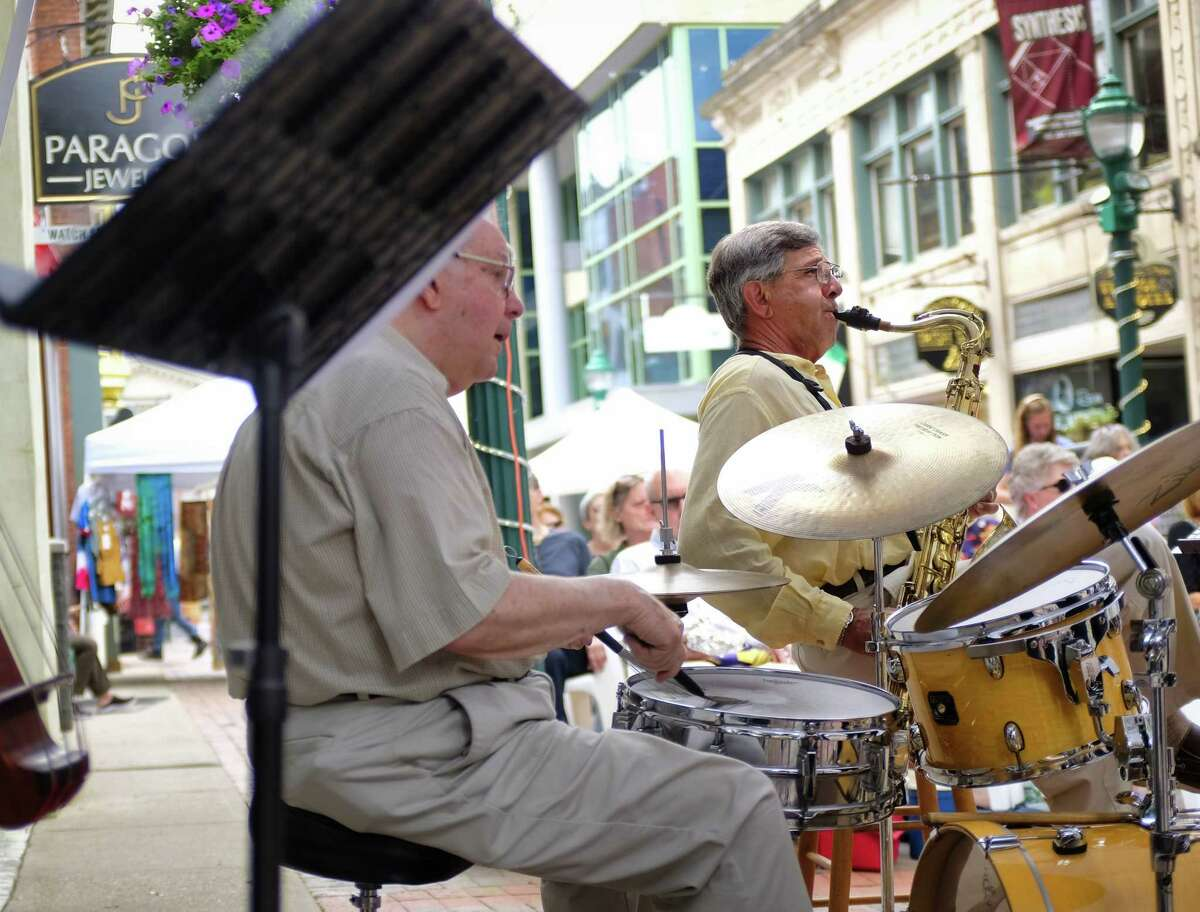 Tim Coakley, left, and Jim Corigliano, right, perform with other members of the Patti Melita Quintet during the Jazz on Jay program on Thursday, July 18, 2019, in Schenectady, N.Y. (Paul Buckowski/Times Union)