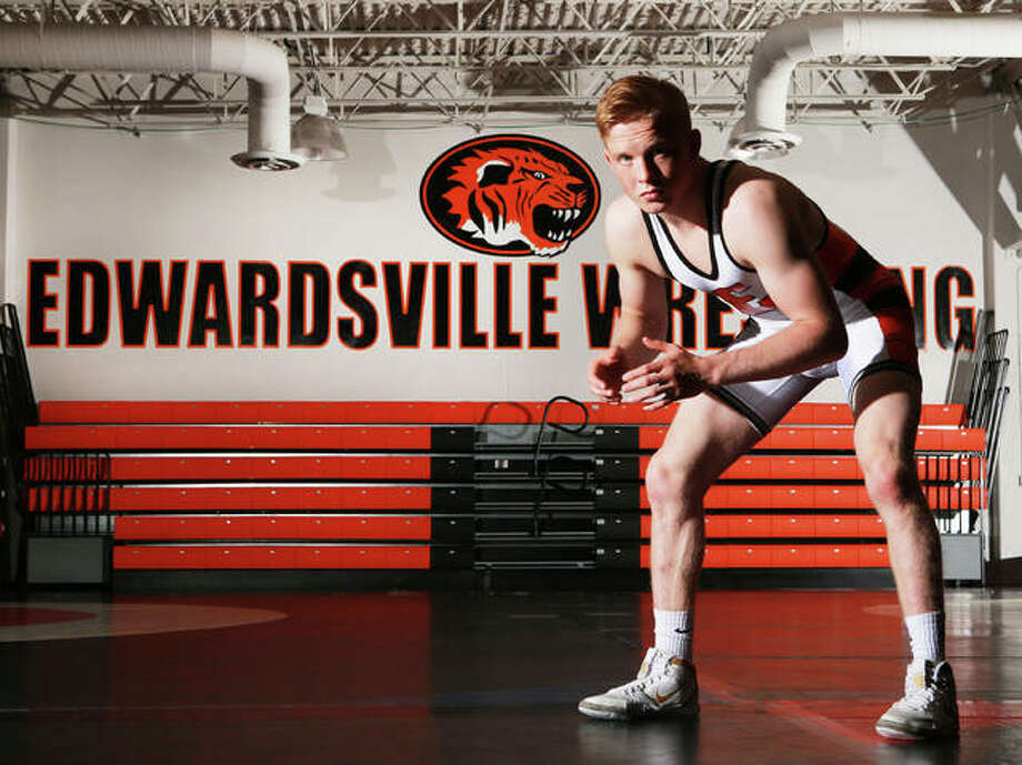 The Tigers' first state champion and school record-holder with 185 career victories, Edwardsville's Noah Surtin is the 2018-19 Telegraph Wrestler of the Year. Photo: Billy Hurst | For The Telegraph