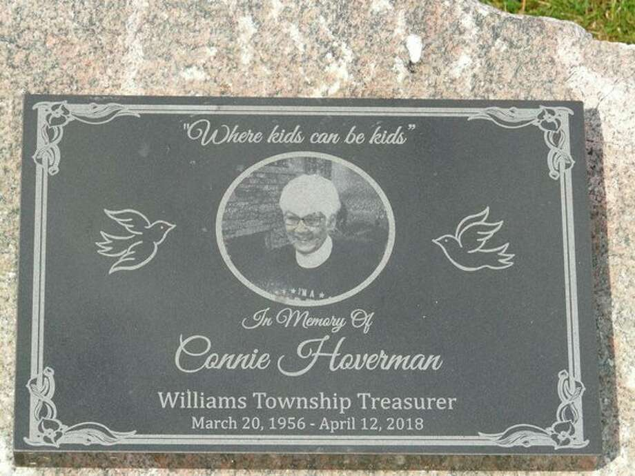 A monument honoring the memory of Connie Hoverman has been installed near the new children's play area at Williams Township Park. The longtime township treasurer is being recognized for her role in getting the $225,000 play area for kids, ages, 2-12, built at the 15-acre park. The township is planning a park dedication ceremony, scheduled for Aug. 1, during which Hoverman and retired township clerk Amy Charney will be honored for their vision to offer improved play activities for the community's youngsters at the township park. (Photo provided)