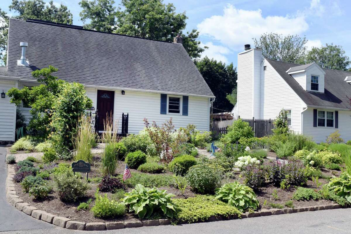 Tim MillerA?•s front yard filled with perennial native plants rather than grass on Monday, July 15, 2019, in Colonie, N.Y. (Catherine Rafferty/Times Union)