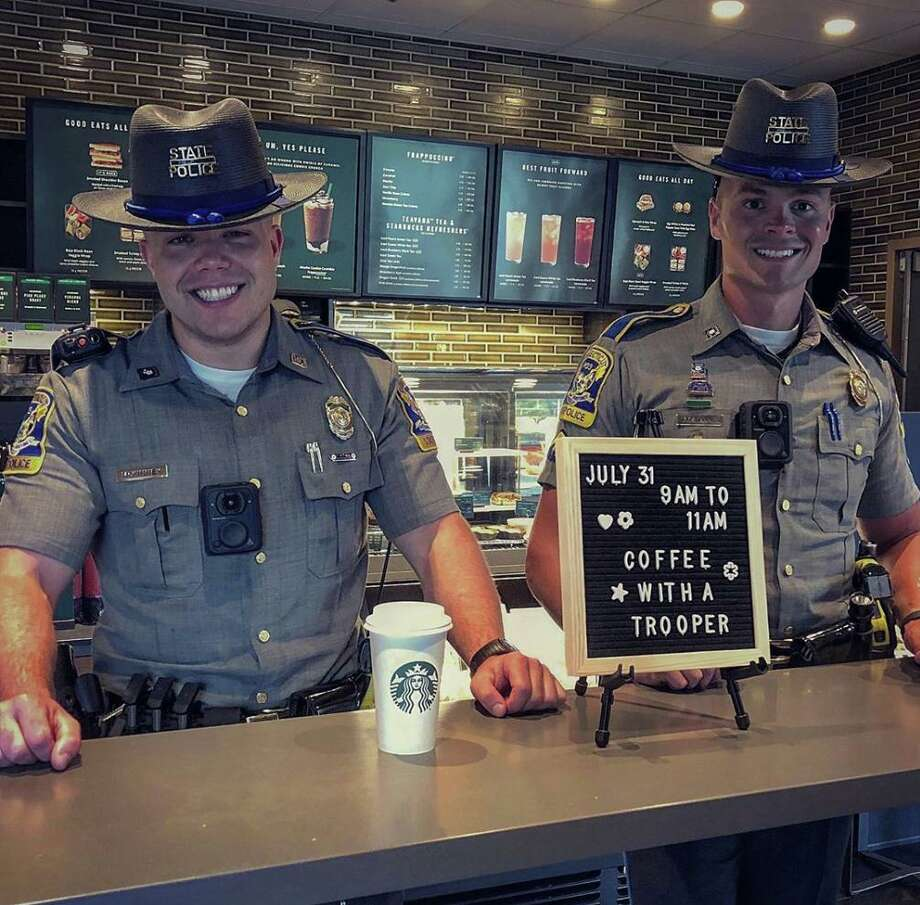 State troopers at Starbucks in Danbury, Conn. Photo: Contributed Photo / Instagram