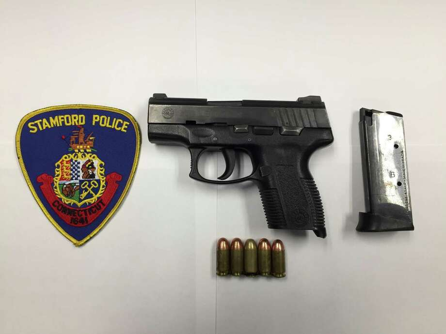 The loaded Taurus .45 caliber semiautomatic handgun that police say they found inside a fanny pack belonging to Elvis Almengot-Castillo on Richmond Hill Avenue in Stamford on Thursday night, July 18, 2019. Photo: Stamford Police Department / Contributed