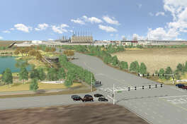 A rendering of the main entry for Exxon Mobil and SABIC's planned petrochemical plant near Corpus Christi. The companies' joint venture, Gulf Coast Growth Ventures, has selected Utah-based rail operator Savage to build a new rail terminal to process polyethylene and petrochemical products made by the main $10 billion plant.