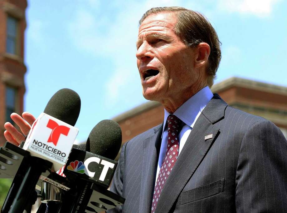U.S. Sen. Richard Blumenthal speaks to the media Friday, July 12, 2019, in Hartford, Conn., about new legislation he introduced to prevent immigration officers from deporting immigrants living in the country illegally. The proposal aims to hold the U.S. Immigration and Customs Enforcement agency accountable if they violate their own policies of generally avoiding enforcement in safe areas where immigrants can seek refuge like churches, schools and hospitals. (AP Photo/Chris Ehrmann) Photo: Chris Ehrmann / Associated Press / Copyright 2019 The Associated Press. All rights reserved.