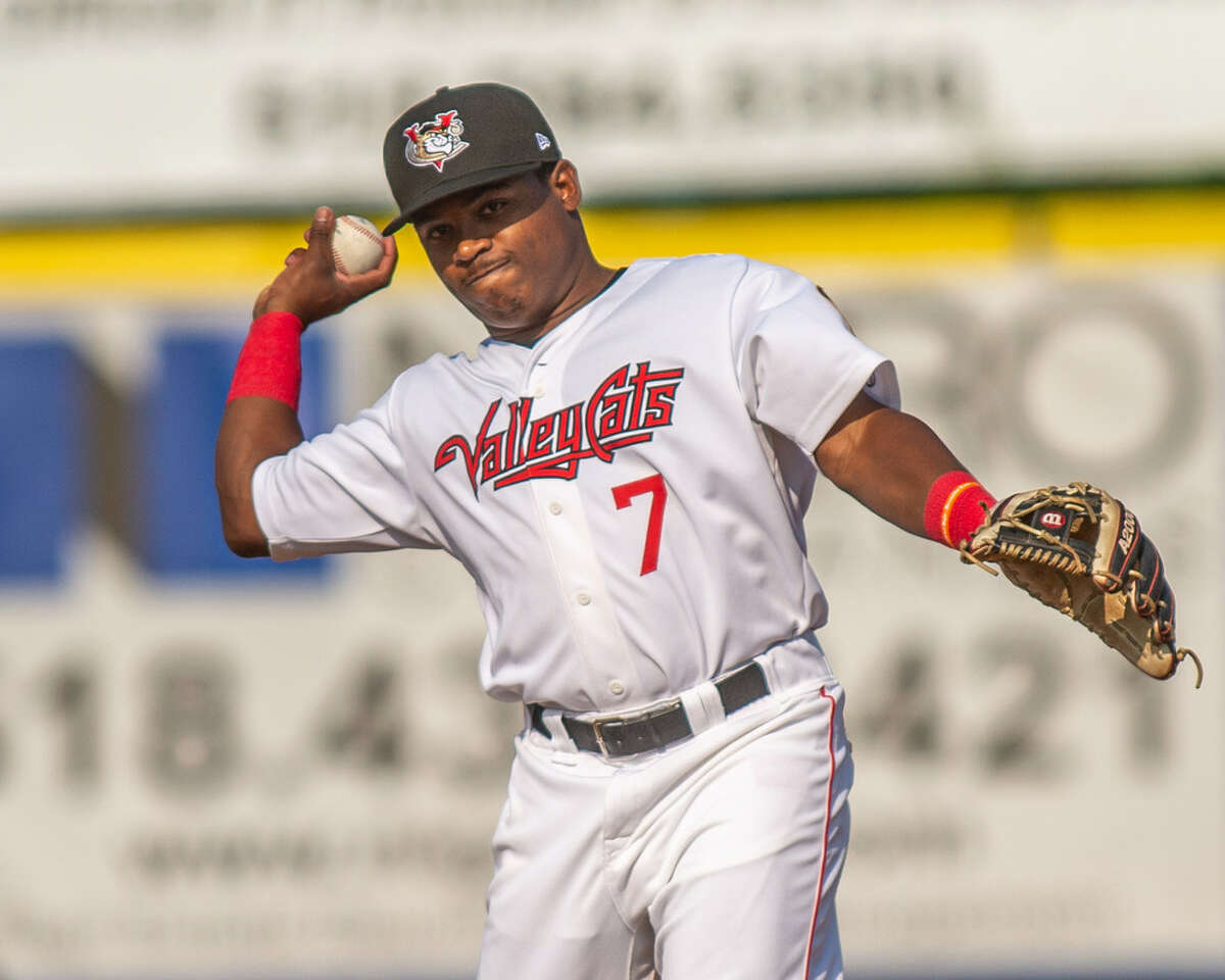 ValleyCats second baseman Luis Santana was pulled from a game for the second time this season on Thursday. (Jim Franco/Special to the Times Union)