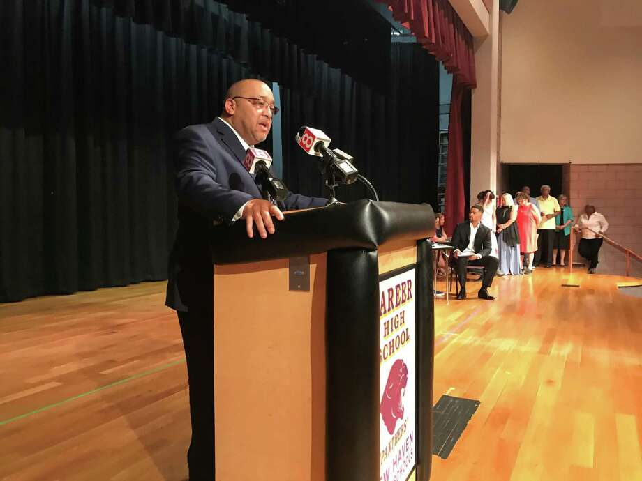 Board of Education President Darnell Goldson accepts the Democratic Town Committee's endorsement on July 18, 2019. Photo: Brian Zahn / Hearst Connecticut Media